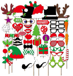 1set 50pcs Christmas party Photo Props Moustache Hat Small Eyes Paper Beard Wedding Party Supplies Bachelorette Party Photo Booth hot