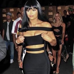 Robes moulantes kardashian à vendre-2016 nouvelles femmes freeshipping chauds 2016 femmes hors de l'épaule coupé robe bandage noir blanc robe sexy femmes robe Khloe Kardashian robe dropshipping