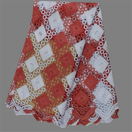 Wonderful design red +white embroidery water soluble lace cloth African guipure fabric for wedding dress EW106-2(5yards pc)