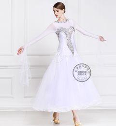 white customize ballroom Waltz tango Quick step competition dress