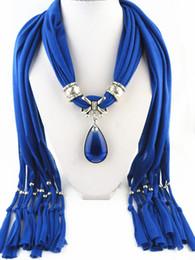 Wholesale Colors Tie Necklace - Fashion Luxury Classics Women Bohemia Scarf Blue Colors Diamond Glaze Pendant Scarves Water Drop Pattern Charm Necklace Scarf As Gift