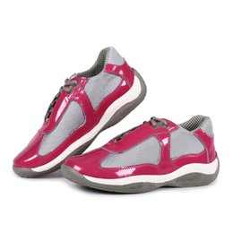 Wholesale 2016 Fashion Italian Brand Womens Casual Shoes Pink Black Patent Leather With Mesh American Cup Comfort Shoes For women Luxury Designer