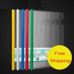 Wholesale 10pcs A4 Size Transparent Slider Rod Pumping Folder Business Office Supplies Folder Plastic Storage Documents Paper Clip File Folder