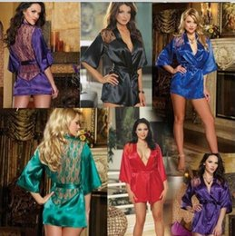 Wholesale Sexy Lingerie Set Kimono Dress New Lace Sleepwear Pyjamas Sexy Customs for Women Langerie Baby doll and Sex String HOT Colors S M L XL
