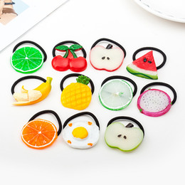 Wholesale cute baby hairband kids pony tails holder apple banana orange strawberry lovely girls hairband children hair accessory