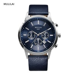 2017 MULILAI luxury man waterproof leather fashion casual businessman sports three small three-pin clock blue classic watch watch
