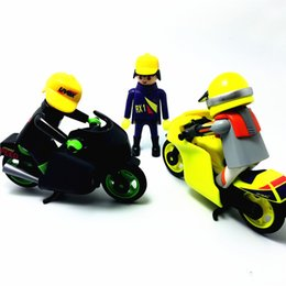 Wholesale Germany Original Playmobil Motorcycle Race Car Driver Action Figures Playmobil Game Child Toy Models Collections Kids Gift