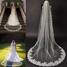 Wholesale New Cathedral Lace Veil Alencon lace bridal veil couture bridal veil Chapel veils wedding veil single layer veil ivory veil diamond