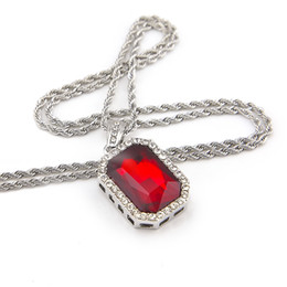 Hip Hop Men Silver Plated Box Chain 24inch 4.5*2.5cm Blue White Green Black Red Ruby Necklace Pendant