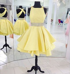 Cocktail Dresses 2016 Short Mini Yellow A Line Beaded Open Back Prom Dress Sexy Sparkle Homecoming Dress