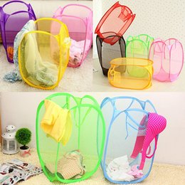 Wholesale New Foldable Pop Up Laundry Basket Hamper Washing Clothes Bag Bin Mesh Storage