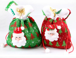 20*24cm Christams Decoration Gift Bags Non-woven Festival Party Ornaments Santa Claus Handbag Red Color Drop Shipping 300pcs lot