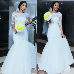 Princess Mermaid Half Sleeve Wedding Dresses Tulle Illusion Sheer Applique 2016 Sweep Train Lace Bridal Gowns Dresses Real Image