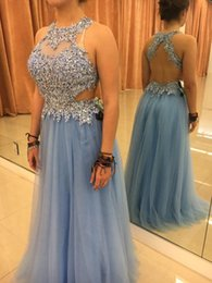 Lace Appliques Beaded A Line 2016 Backless Prom Dresses Cheap Evening Gowns Jewel Side Cutaways Ruffled Tulle Long Dresses Evening Gowns