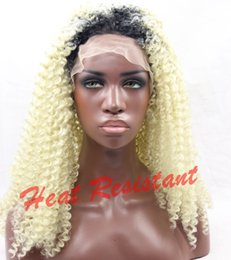 New Sexy Cheap Afro kinky curly hair ombre blonde 613# curly wigs for black women glueless synthetic lace front wigs with baby hair