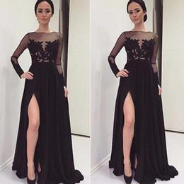 Wholesale Vestidos De Novia Arabic Kaftan A line Split Prom Evening Dress Party Gowns Formal Dresses with Long Sleeve Dubai