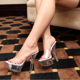 Sexy high-heeled slippers plus size 15cm classic crystal transparent performance shoes women's shoes sexy high heels