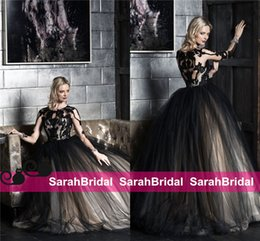 Wholesale Victor Harper Couture Style Goth Wedding Dresses for Vintage Unique Masquerade Gothic Halloween Themed Brides Wear Black Bridal Gowns