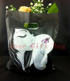 Wholesale 100pcs 25x35cm Large Plastic Shopping Bag For Boutique Gift Packaging Lady Print Black Plastic Gift Bags With Handle