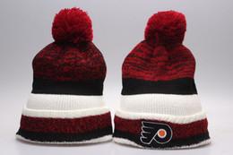 Wholesale Hockey Beanies Sports Team Cap Philadelphia Flyers Beanies Winter Warm Cuffed Pom Beanie Hat High Quality Skullies Knit Cotton Hat