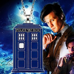 Wholesale 2016 New Blue TARDIS Necklace Doctor Who Police Box Pendent Necklace Dr Mysterious House Necklace For Men And Women ZJ