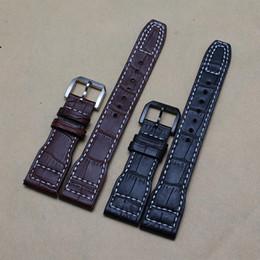 Acheter en ligne Les brunes-Bague de montre 22mm noir fait à la main Brown alligator véritable modèle en cuir Bracelet Bracelet montre pour les montres de marque de sport nouveau