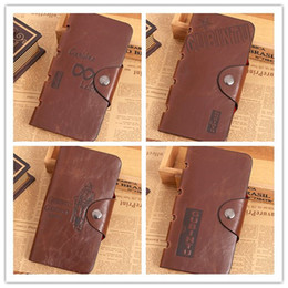 Wholesale New Fashion Men Long Paragraph Leather Wallet Vintage Casual Antique Bifold Wallets ID Card Holder Pocket Purse Mix Design Bag Gift