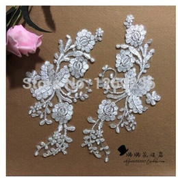 2016 New Ivory white lace Applique sew on hangmade DIY for wedding dress skirt 25*11cm 4pcs bag