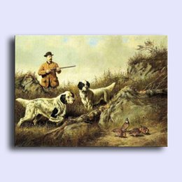 Wholesale Hand painted Hi Q modern wall art home decorative abstract oil painting on canvas young man hunter with dogs Hound birds x36inch Unframed