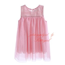 Pettigirl 2016 New Summer Girls Tops Fashion Pink Lace Girls Shirts With Mesh Cute Kids Clothing DMGT81127-8L