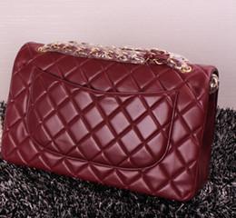 Wholesale 1113 Bordeaux Lambskin Caviar Bag Top Real leather Leather CM Double Flap Bag Women s Genuine Leather Ladies Shoulder Bag