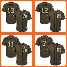 Wholesale 2016 Yankees Alex Rodriguez Chase Headley Brett Gardner Mickey Mantle Green Salute to Service Stitched Baseball Jersey