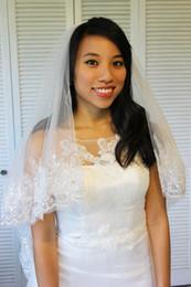 New Top Quality Elegant Luxury Best Sale Cheap Romantic Elbow Lace Edge veil White Ivory Wedding veil For Wedding Dresses