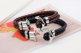 Wholesale Foreign trade Europe and America beaded bracelet snake anchor hip hop personalized leather men s bracelet high end jewelry