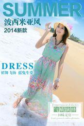 Bohemian dresses 2016 Summer floral sleeveless chiffon Beach dresses Beach dresses