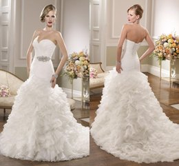 Wholesale 2016 Ronald Joyce Bridal Gowns Sexy Plus Size Mermaid Wedding Dresses Organza Sweetheart Sleeveless Ruched Bodice Beaded Brooch Lace up Bac