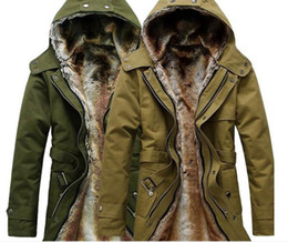 Wholesale-HOT Long Thick Men Outdoors Jacket Parka coats Fur Lining Jacket Mens Winter Trench Coat Hooded 2016 Fashion Slim Fit Outerwear