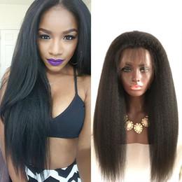 Heavy Italian Yaki Straight Glueless Full Lace Human Hair Wigs Kinky Straight Lace Front Wigs For Black Women Peruvian Wig