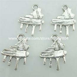 Wholesale 40PCS Alloy Antique Silver Vintage Music Piano Pendant Charm Fashion