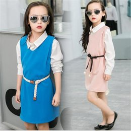 Wholesale 2016 Kids Costumes Children s Clothes Two Pieces Dress Shirt Baby Girls Clothes Set Sweet Spring Autumn Kids Outfits Suits