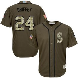 Wholesale Ken Griffey Jr Seattle Mariners Salute To Service Limited Base Jersey Green