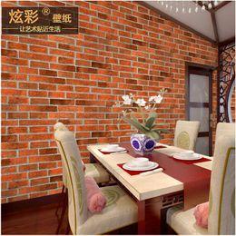 Wholesale Chinese style antique brick brick pattern wallpaper store decoration D Restaurant restaurant hotel corridor red brick retro wallpaper