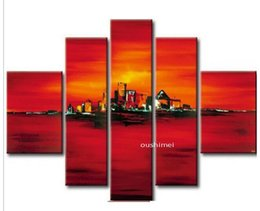 Hand-painted Modern Landscape Oil Painting Match No Frame 5pcs set Abstract Picture Art For Living Room Red Group Of Pictures