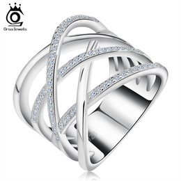 Big Size Silver Ring with Micro Paved AAA CZ High Polished White Gold Plated Ring for Women Party OR85