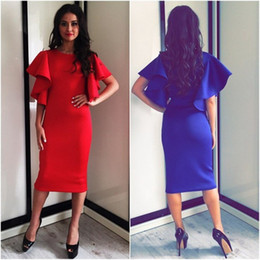 Women Ruffle Dress 2015 Hot Autumn Women Ruffle Sleeve Bodycon Dress Elegant Blue Red Knee Length Bandage Club Robes Femmes
