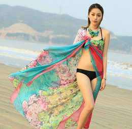 Wholesale New Arrival Chiffon Flower Scarves Spring Summer Beach Sarongs Women Sunscreen Silk Straps Beach Towel Long Soft Shawls Dual Wraps
