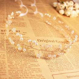 Wholesale New Arrival Pearls Head Band Wedding Accessaries for Bride Crystal Silver Golden Bridal Hair Embellishments O111