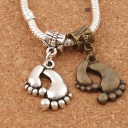 Big Feet Metal Big Hole Beads 100pcs lot Antique Silver Bronze Fit European Charm Bracelets B288 29.4x17.37mm