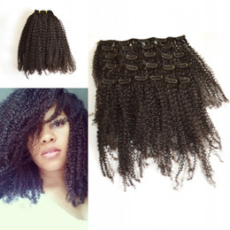 Kinky Curly Clip In Hair Extensions Natural Color African American Clip In Human Hair Extensions 120g 7Pcs set Clip Ins LaurieJ Hair