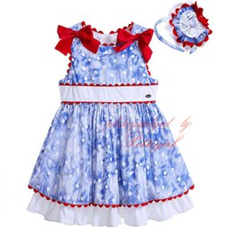 Wholesale Pettigirl Blue And White Dots Boutique Girls Dress With Headbands Red Bowknot Decoration Patchwork Pattern Baby Kids Tank Wear G DMGD905